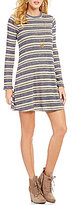 Jodi Kristopher Long-Sleeve Striped Knit Shift Dress