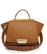 Zac Posen Eartha Iconic Soft Top Handle Leather Satchel With Floral Appliqué Strap