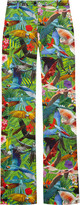 Redwood tropical-print stretch cotton-blend flared pants