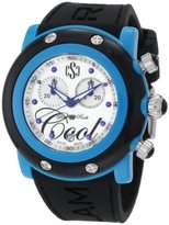 Glam Rock Women's GRD62103 Miami Beach Chronograph Silver Textured Dial Black Silicone Watch