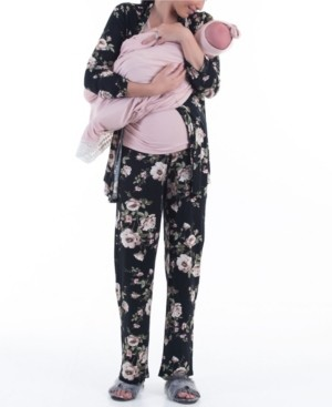 Blooming Women by Angel 5 Piece Kimono Wrap Floral Top Matching Pants, Pink Nursing Top, Baby Wrap and Baby Bow Set