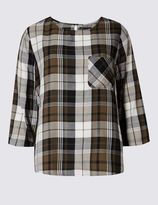 Marks and Spencer PETITE Cotton Blend Checked Shell Top