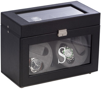 Bey-Berk Bey Berk Black Leather Four Watch Winder & 5 Watch Storage Case
