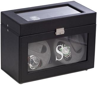Bey-Berk Black Leather Four Watch Winder & 5 Watch Storage Case
