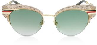 Gucci GG0283S Cat Eye Beige Glitter Acetate Sunglasses w/Sylvie Web Temples