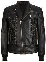 Balmain Lace-up Detail Leather Biker Jacket