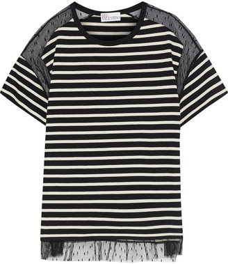 RED Valentino Point D'esprit-paneled Striped Cotton-jersey T-shirt