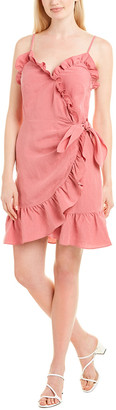 Rebecca Taylor Ruffle Linen-Blend Faux Wrap Dress