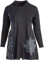 Aller Simplement Black & Slate Floral-Accent Zip-Up Hooded Jacket - Plus