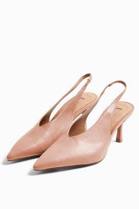 Topshop Womens Jessie Pink Point Slingback Shoes - Pink