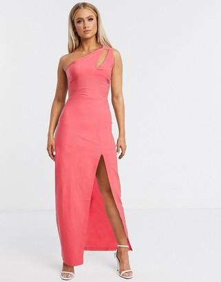 Vesper one shoulder maxi dress with side split in pink