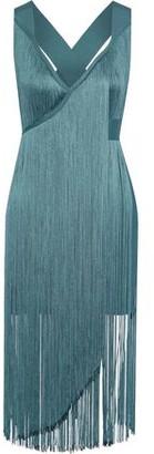 Herve Leger Wrap-effect Fringed Bandage Mini Dress