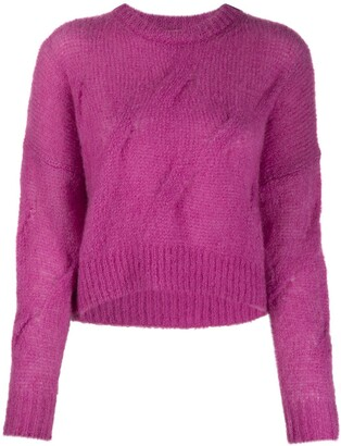 Nude Cropped Crew-Neck Jumper