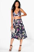 Boohoo Martha Floral Print Bralet and Skater Skirt Co-Ord