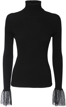 RED Valentino Embellished Ribbed Turtleneck Sweater