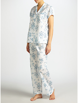 John Lewis Dawn Floral Short Sleeve Pyjama Set, White/Blue