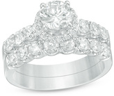 Zales 2 CT. T.W. Diamond Frame Bridal Set in 14K White Gold
