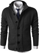 MIEDEON Mens Casual Stand Collar Cable Knitted Button Down Cardigan Sweater Black