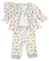 Offspring Four-Piece Printed Cotton Cardigan, Bodysuit, Pants & Hat Set