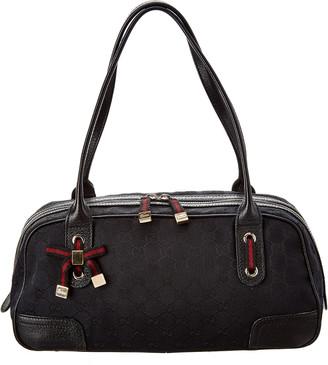 Gucci Black Gg Canvas & Leather Princy Satchel