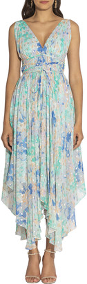 Shoshanna Verda Pastel Floral Print Sleeveless Handkerchief Dress