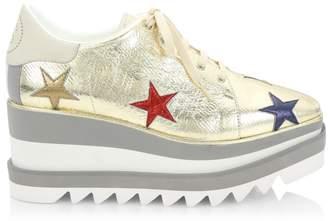 Stella McCartney Sneak-Elyse Metallic Star Platform Wedge Sneakers