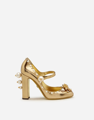 Dolce & Gabbana Mirrored Calfskin Mary Jane Shoes With Jewel Embroidery