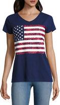 ST. JOHN'S BAY St. John's Bay Flag Short Sleeve V Neck Star T-Shirt-Womens