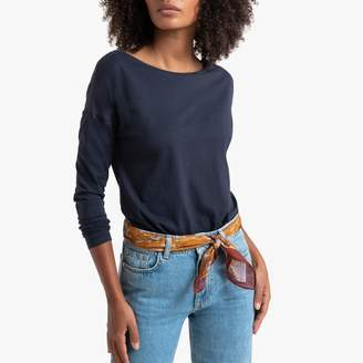 La Redoute Collections Organic Cotton Long-Sleeved Boat Neck T-Shirt