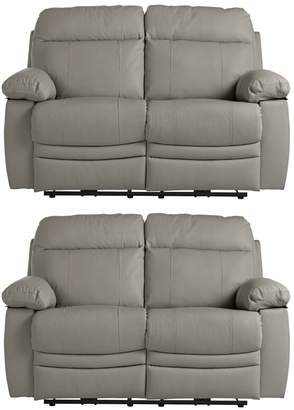 Argos Home Paolo Pair of 2 Seater Manual Recliner Sofa -Grey