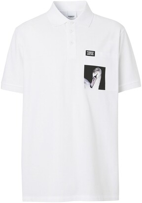 Burberry Swan Print Polo Shirt