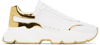 Dolce & Gabbana White and Gold Daymaster Sneakers