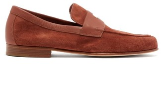 John Lobb Hendra Suede Penny Loafers - Mens - Brown