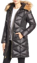 GUESS Women's Quilted Puffer Coat With Faux Fur Trim