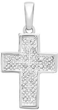 Carissima Gold Women's 9 ct White Gold 0.15 ct Diamond Pave Set 14 x 26 mm Cross Pendant