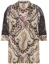 Etro Lace-trimmed printed silk blouse