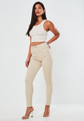 Missguided High Waisted Raw Hem Distressed Skinny Jeans