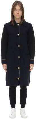 Thom Browne Long Overwashed Wool & Cashmere Coat