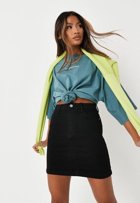 Missguided Recycled Black Super Stretch Denim Mini Skirt