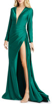 Mac Duggal 6-Week Shipping Lead Time Long-Sleeve Thigh-Slit Satin Gown