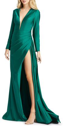 Mac Duggal Long-Sleeve Thigh-Slit Satin Gown