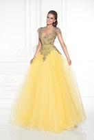 Tarik Ediz Embellished Illusion Jewel Neck Gown 92578