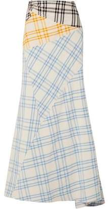 Rosie Assoulin Cut And Paste Paneled Checked Cotton Maxi Skirt