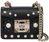 Gaia Faux Pearls Leather Shoulder Bag