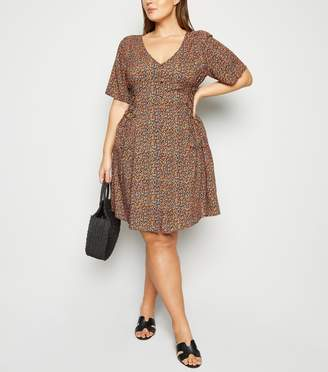 New Look Curves Ditsy Floral Button Front Tea Dress