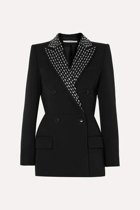Givenchy Double-breasted Crystal-embellished Wool And Silk-blend Twill Blazer - Black