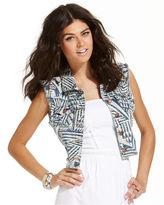 Teen Vogue Juniors Jacket, Tribal-Print Denim Vest