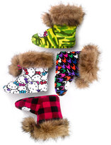 Hello Kitty Printed Plush Boot with Faux Fur Trim Slippers