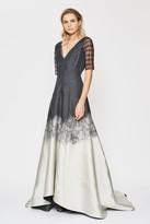 Amanda Wakeley Brushstroke Black & Pearl Jacquard Degrade Gown