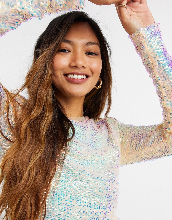 Thumbnail for your product : Forever U long sleeve sequin top in iridescent white